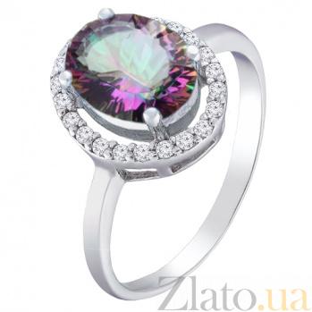 Серебряное кольцо Ронара с мистик кварцем и фианитами 000045614