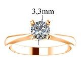 Кольцо помолвочное из красного золота с бриллиантом Победа любви, 3,3мм