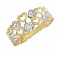 Кольцо Сердечки из желтого золота с бриллиантами