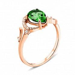 Кольцо из красного золота с изумрудом и фианитами 000135262