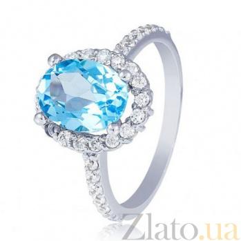 Золотое кольцо Альда в белом цвете с голубым топазом и фианитами EDM--КД4036/1ТОПАЗ