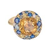 Золотое кольцо с цитрином и бриллиантами Mila