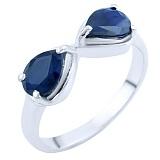Серебряное кольцо Бесконечность с сапфирами
