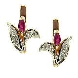 Золотые серьги с бриллиантами и рубинами Гарция