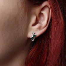Серебряные серьги Кометы с зеленым кварцем и фианитами