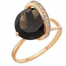 Золотое кольцо Модерн с раухтопазом и фианитами