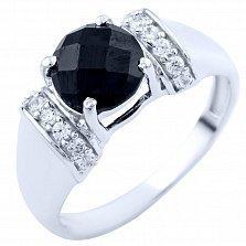 Серебряное кольцо Джумана с черным ониксом и фианитами