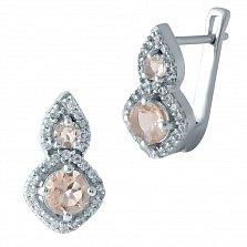 Серебряные серьги Кимми с узорами, нано морганитами и фианитами