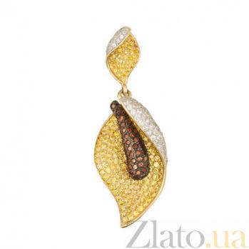 Золотой подвес с фианитами Камелия VLT--ТТ3379-1
