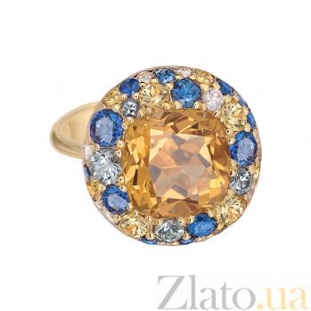 Золотое кольцо с цитрином и бриллиантами Mila 1К113-0188