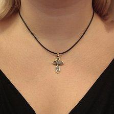 Серебряный крестик Добродетель с позолотой