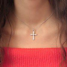 Серебряный крестик Цветение с фианитами