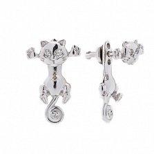 Серебряные двусторонние серьги Kitty с фианитами