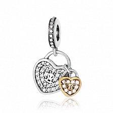 Серебряный шарм Открытые сердца с фианитом