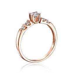 Кольцо в красном золоте с фианитами 000117679