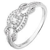 Золотое кольцо Снежные узоры с бриллиантами