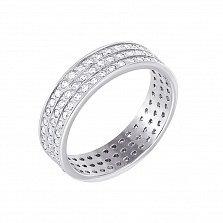 Обручальное кольцо из белого золота Галактика с фианитами