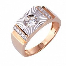 Золотое кольцо-печатка с фианитами Оливер