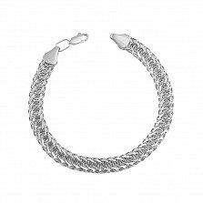 Серебряный браслет в плетении королевский бисмарк 000133680
