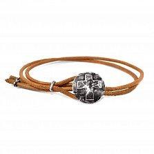 Кожаный браслет с серебром Joss Brown с чернением