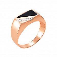 Перстень-печатка в красном и белом золоте Рим с черным ониксом и фианитами