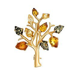 Серебряная брошь с янтарем и позолотой 000139175