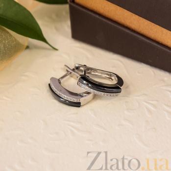 Серебряные серьги с керамикой Зеркальный блеск 000024614
