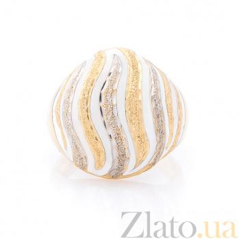 Дизайнерский перстень Ванильный иней в желтом золоте с насечками и белой эмалью 000082296