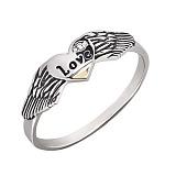 Серебряное кольцо с золотой вставкой и цирконием Ангел