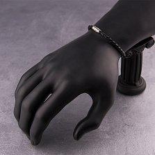 Кожаный плетеный браслет Гаттака с серебряной магнитной застежкой