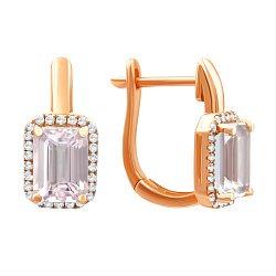 Серьги из красного золота с розовым кварцем и бриллиантами 000139373
