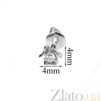 Серьги-пуссеты с бриллиантами Laura E 0693/бел