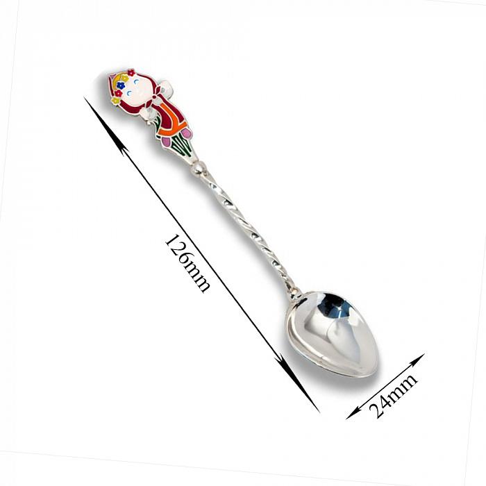 Детская серебряная кофейная ложка Маша с разноцветной эмалью и крученой ручкой 000080081