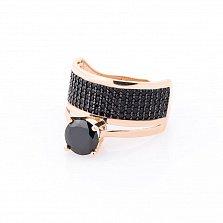 Золотое кольцо Джейда с черными фианитами