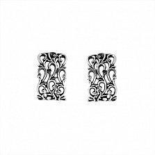 Серебряные серьги Полевые цветы с чернением