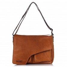 Кожаная мужская сумка HILL BURRY 3062B коричневого цвета с клапаном на молнии