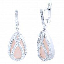 Серебряные серьги-подвески Жасмин с розовым кварцем и фианитами