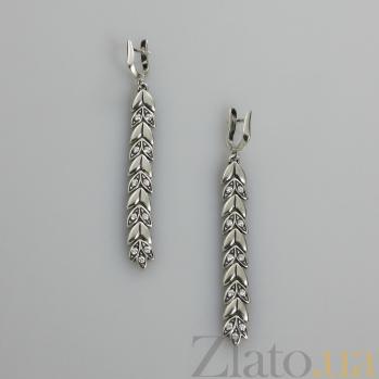 Серебряные серьги Колос с фианитами 000017459