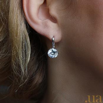 Серебряные серьги с белыми фианитами Южные звезды  AUR--72755б/a