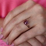 Золотое кольцо Кушон с аметистом