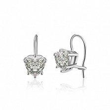 Серебряные серьги Менуэт с фианитами