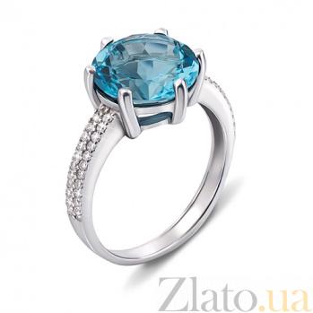 Серебряное кольцо с голубым кварцем и фианитами 1618/9р гол.кварц