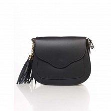 Кожаный клатч Genuine Leather 6209 черного цвета с клапаном на магните и плечевым ремнем