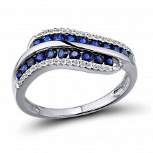 Кольцо из белого золота Доминика с бриллиантами и сапфирами