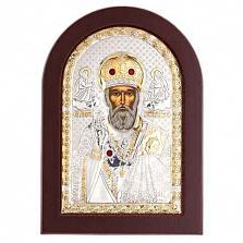 Икона Николай Чудотворец серебро с позолотой