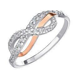 Серебряное кольцо с золотой накладкой и фианитами 000146056