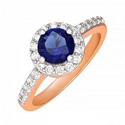 Позолоченное серебряное кольцо с синим фианитом 000025428