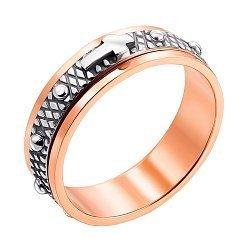 Золотое кольцо Крестик в комбинированном цвете с чернением