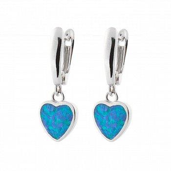 Серебряные серьги-подвески с голубой эмалью 000072911