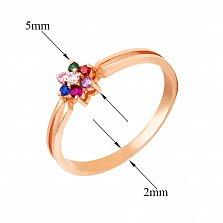 Кольцо в красном золоте Семицветик с фианитами